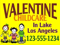 Daycare-04 Valentine Childcare Yard Sign