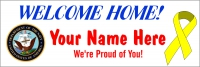 2x6 ft Navy Welcome Home Message Banner
