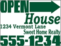 Green Open House Directional Panel Template