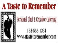 Catering/Food-02 'A Taste to Remember' Yard Sign