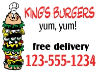 Catering/Food-06 Kings Burgers Yard Sign Template