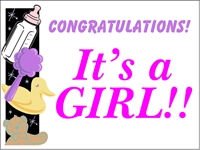 New Baby 03- It's a Girl Yard Sign