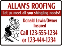 Tradesman 06-Allans Roofing Yard Sign